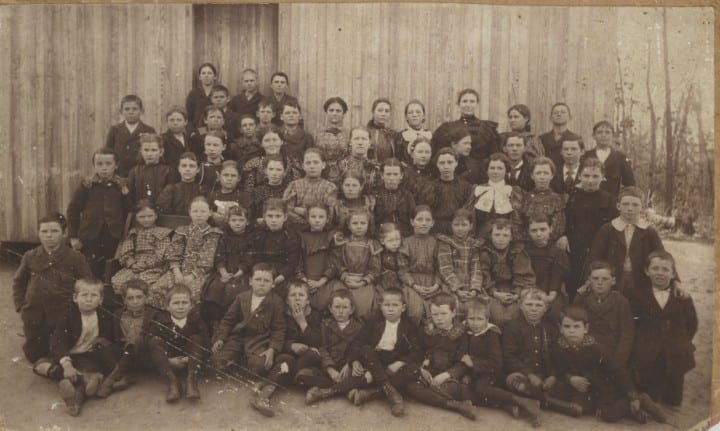 1st row: Irby Terrell, Sallie Lee, Ruth Terrell, Carl Terrell 2nd row: Henry Todd, Ruby Lee, Mrs. W. J. Lee and Tom, Miss Lizzie Todd, Mable Kidd, Powell Lee, Olin Todd, Wilson Bell. 3rd. row: Unknown girl, Nannie Todd, 2 Unknown girls, Luke Terrell, Bertha Todd, Edna Huie (Amos Daniel Humphries' step daughter), Mattie Lee (who married Chester Jones). 4th row: Unknown boy, Lennie Wayne, Dannie Wesley, 2 Unknown girls, Lily Mitchell, Unknown girl, Exa Huie (another ADH stepdaughter), Annie Terrell. 5th row: Beulah Jones, Unknown girl, Lorrell Terrell, Lewis Kidd, Raymond Terrell, Griffin Dunn, Quigg Terrell, John Wayne, Rove Green, George Todd, Jim Lee, Henry Wesley, Will Kidd