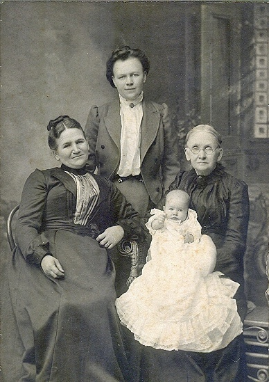 Eliza Oregon McNair, Lillie Marvin Jones, & <br>Martha Jane Nisbet holding Annis Jones Humphries