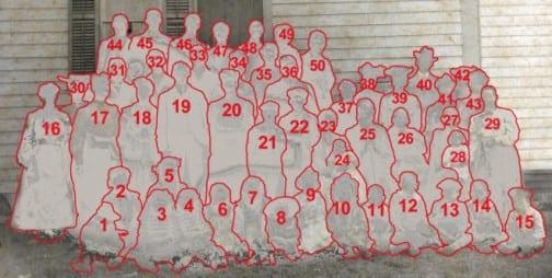 8. Annis Humphries, 9. Nellie Bernice Jones, 10. Ruth Huie, 18. Laura Jones, 25. Samuel Lawson McNair, 26. Martha Nisbet McNair, 37 Eliza McNair Jones, 38. Aunt Nonnie Lassiter, 39. Nettie Huie, 40. Uncle Walter McNair, 41. Emma Jones Smith, 44. Chester Lawson Jones, 48. John D. Humphries, 49. Lillie Jones Humphries, 50. John Franklin Jones. (most identifications by Annis Jones Humphries)