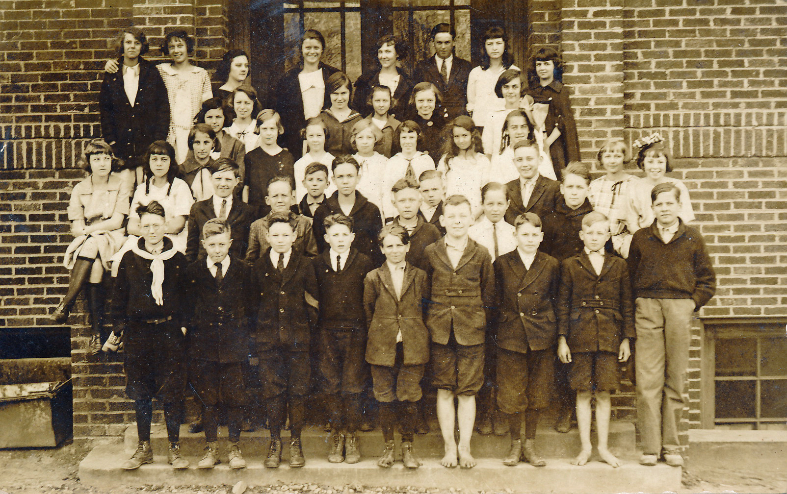 John David Humphries, Jr.  College Street Class, c. 1920. JDH, Jr.s is third from left on first row.