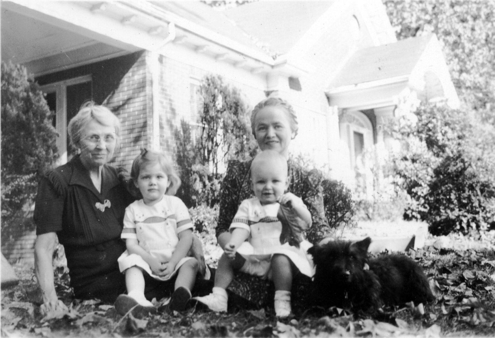 Aunt Dora and Auntie with Lillie, Demaris, and Scottie
