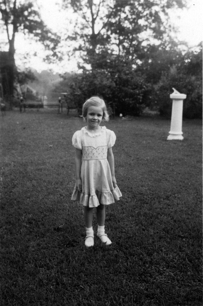 Demaris in her favorite dress on Atlanta front lawn