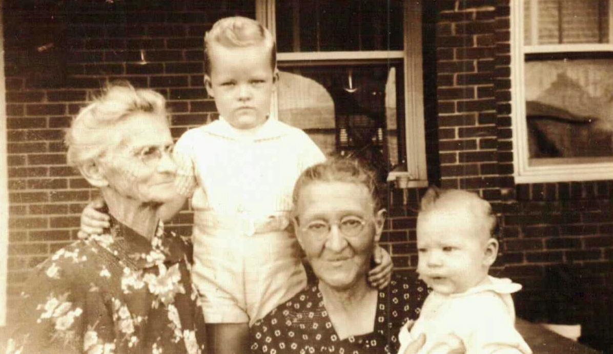 Grandmother Ida Leora Baggett O'Kelley, Jimmy Miller, Grandmother Maggie Milligan Miller, Johnny Miller